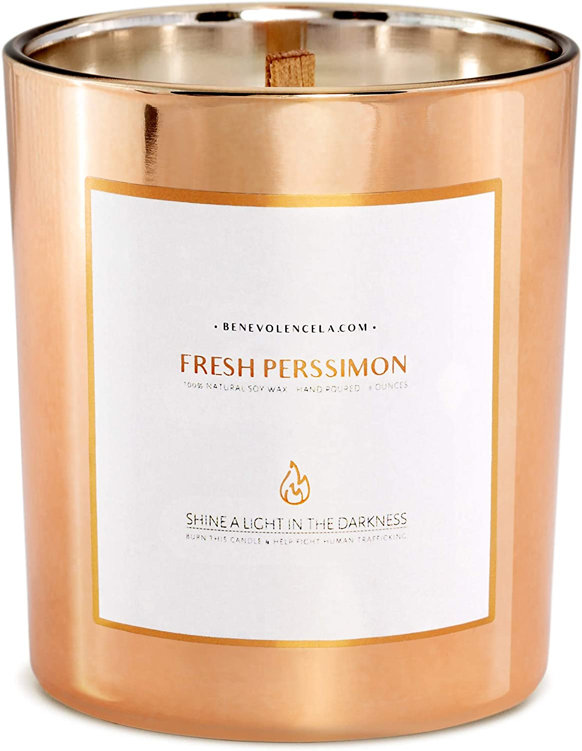 Benevolence LA Scented Candles Soy Candles - Aromatherapy Candles Relaxing Candles Rose Gold Glass Decorative Candle Perfect Scented Candles for Home Decor and Stress Relief (Fresh Persimmon)