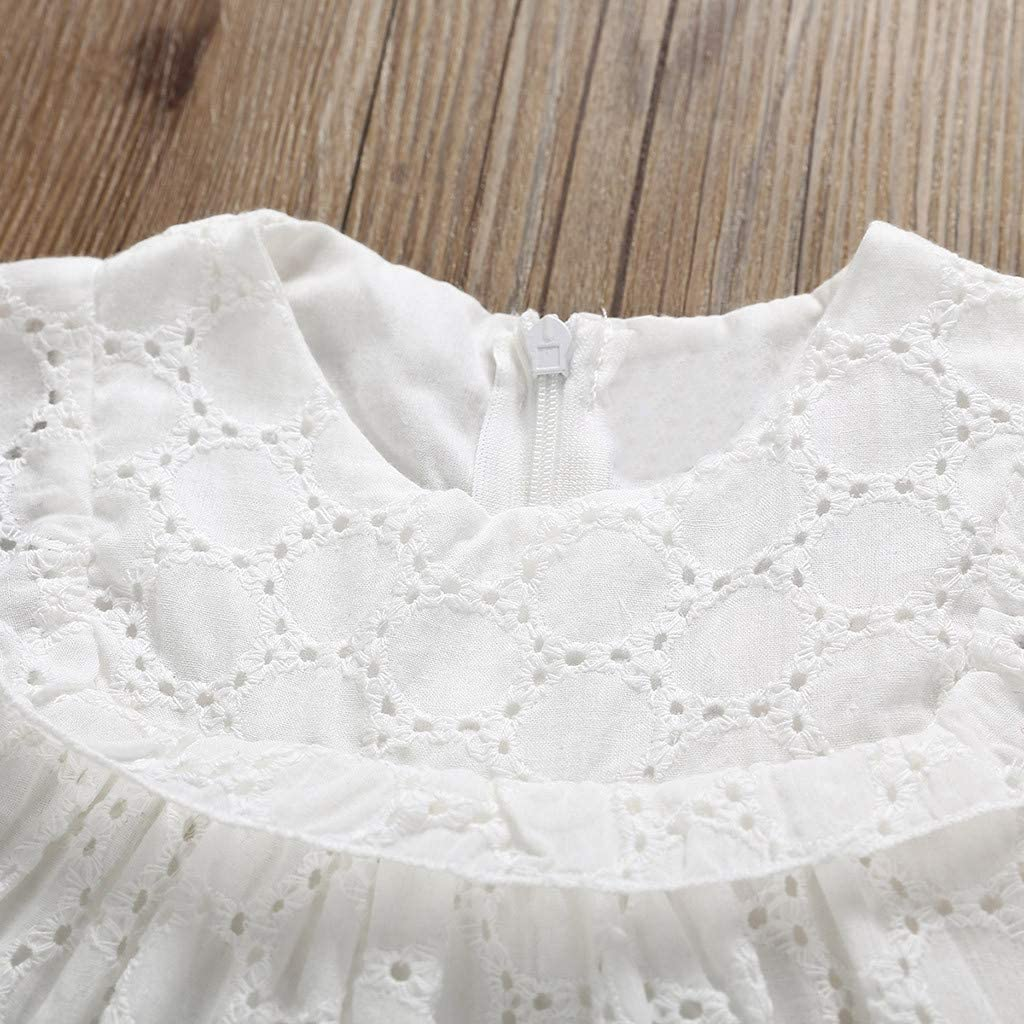 Whitegeese Infant Baby Girls Sleeveless Solid Print Lace Hollow Out Tops+Shorts Outfits Set
