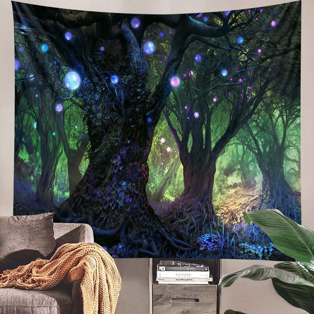 XGXL Trippy Forest Tapestry Wall Hanging - Hippie Magical Tree Tapestry Fantasy Shining Lanterns Psychedelic Blanket Wall Decor for Bedroom College Dorm Room