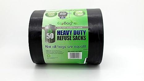 EcoBag - 50 bolsas de basura resistentes de 50 litros ...