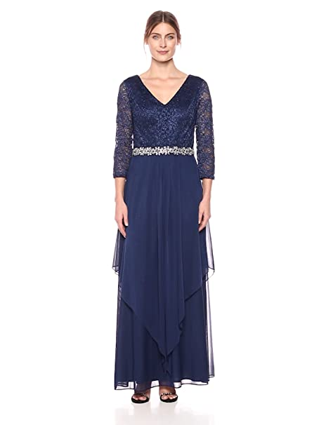 Edwardian Evening Gowns | Victorian Evening Dresses Alex Evenings Womens Long V-Neck Lace Dress with Overlay Skirt $249.00 AT vintagedancer.com