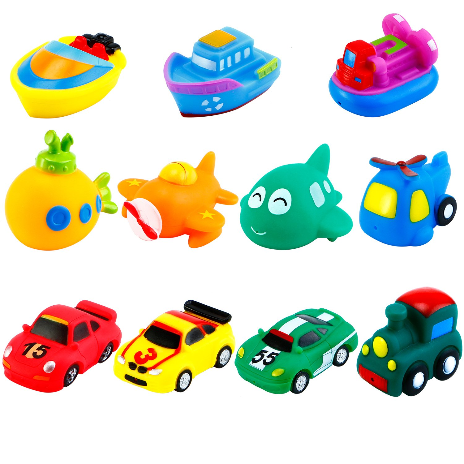 Keriber 11 Pack Floating Bath Toys Rubber Floating Boat Vehicle Aircraft Bath Squirt Toys for Baby or Kids (11 Style)