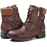 STQ Women's Combat Boots Lace up Ankle Booties Brown Size: 8