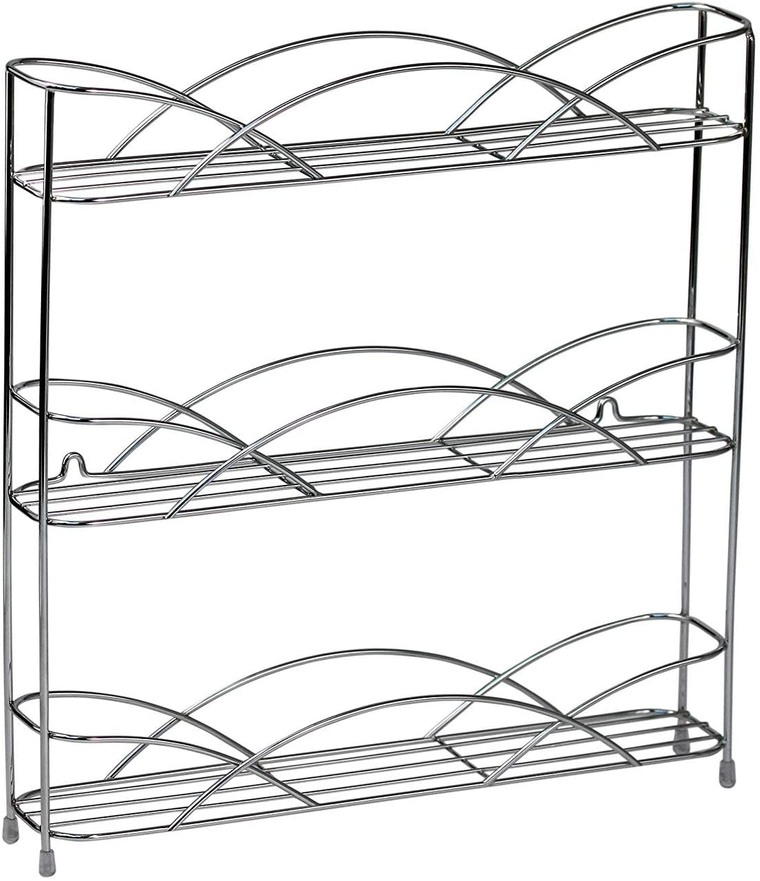 Spectrum Diversified Countertop 3-Tier Rack Kitchen Cabinet Organizer or Optional Wall-Mounted Storage, 3 Spice Shelves, Raised Rubberized Feet, Chrome