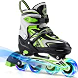 Gonex Inline Skates for Girls Boys Kids, Adjustable Skates Outdoor Blades Inline Roller Skates for Children Teens Women…