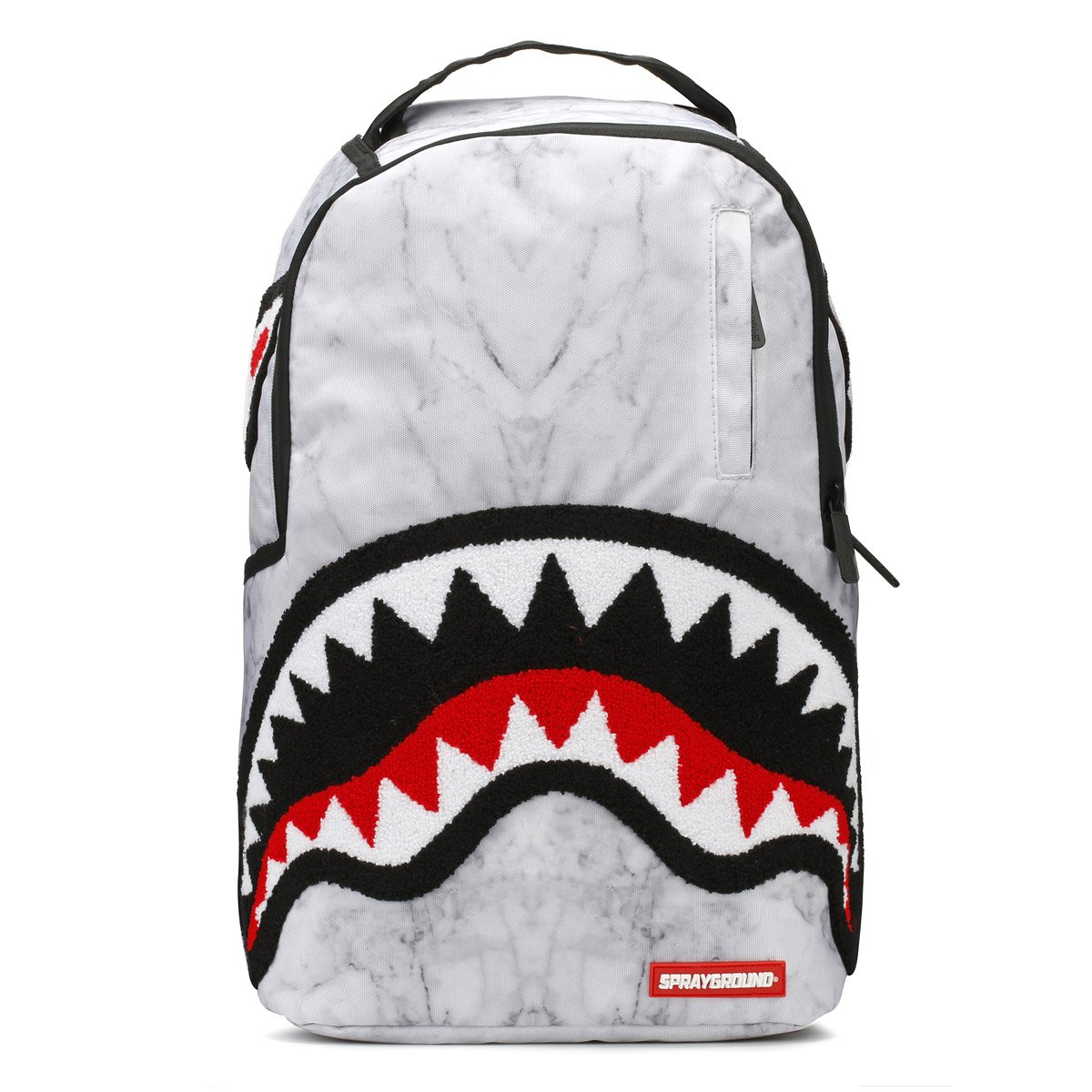 Sprayground White Marble Shark DLX Backpack - White Marble
