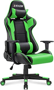 Homall Office High Back Computer PU Leather Desk PC Racing Executive Ergonomic Adjustable Swivel Task Chair with Headrest and Lumbar Support, Green