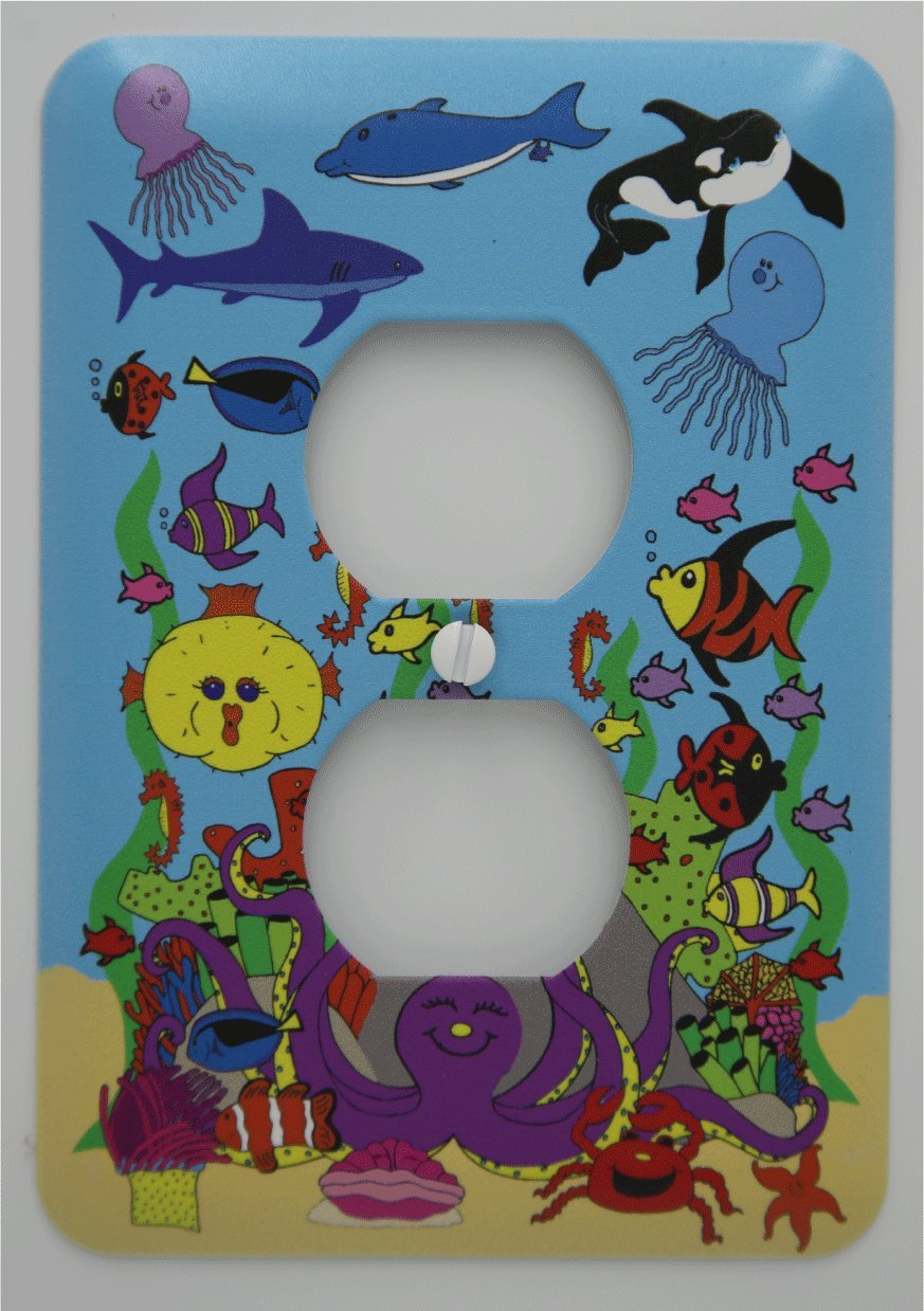 Under Sea Light Switch Plates with Dolphins, Whale, Sharks, Octopus, Jelly Fish and Clown Fish/Under The Sea Children's Nursery Wall Decor (Outlet Cover) Presto Chango Decor inc.