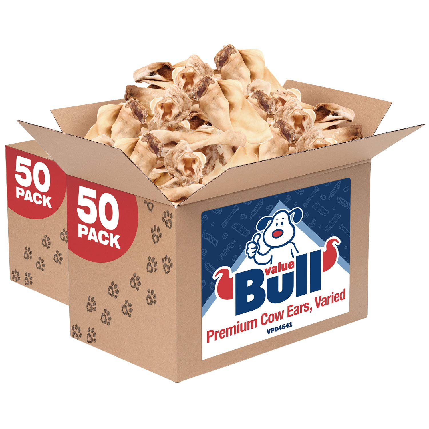 ValueBull Premium Cow Ears, Varied Sizes/Shapes, 100 Count - Angus Beef Dog Chews, Grass-Fed, Single Ingredient by ValueBull