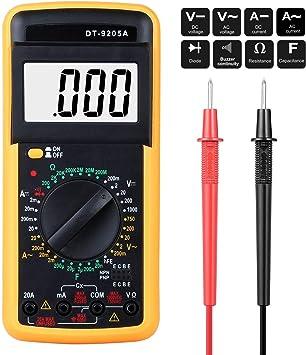 Digital Multimeter Multimeter Messgeräte Digitales Voltmeter Amperemeter Ohmmeter Akustischer Durchgangsprüfer Multimeter Voltmeter Ac Dc Multi Tester Spannung Strom Widerstand Gelb Baumarkt