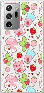 Lex Altern TPU Case Compatible with Samsung Galaxy S21 Note 20 Plus S20 Ultra S10 5G 9 Flexible Clear Korean Summer Print Kawaii Cute Silicone Lightweight Pink Strawberry Milk Slim Cover Soft phh481