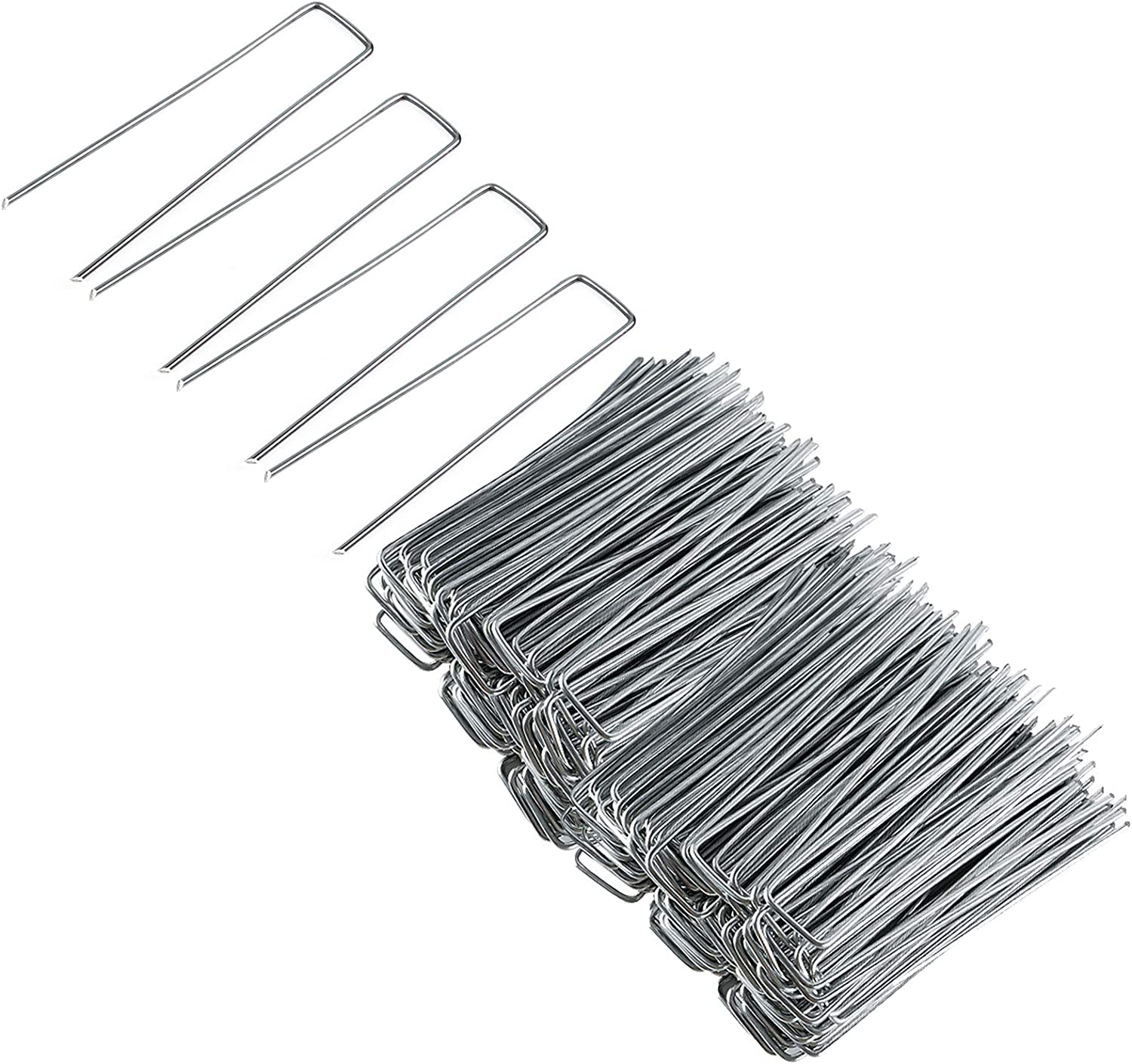 Gtongoko Garden Landscape Fabric Staples 6in 11 Gauge Galvanized Garden Stakes Ground U Shaped Heavy Duty Landscape Pins Ground Cover (6 inch 100 Pack)