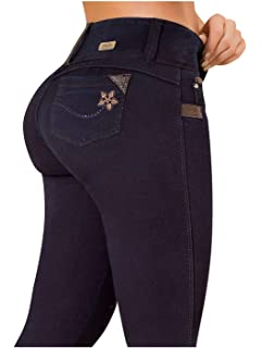 Rose High Rise Skinny Jeans for Women   Pantalones Colombianos Levanta Cola Blue