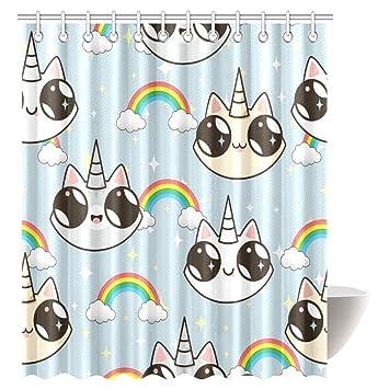 interestprint gatos unicornios y arco iris tela baño cortina de ducha con ganchos, 36 x 72 cm: Amazon.es: Hogar