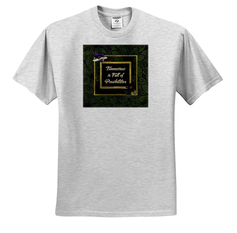 Frame Purple T-Shirts Cap Diploma 3dRose Beverly Turner Graduation Design Green Tomorrow is Full of Possibilities