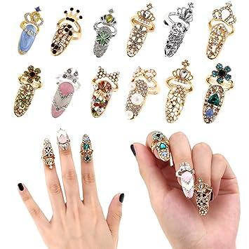 Women Fashion Bowknot Nail Ring Charm Crown Flower Crystal Finger Nail Rings