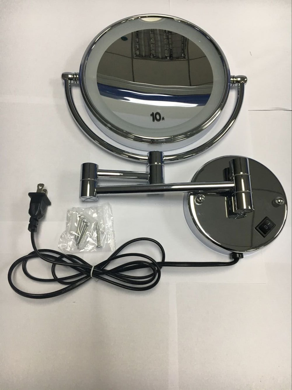 WAll Mounted Makeup Mirror, 8-Inch Two-Sided Swivel Cosmetic Mirror with Magnification,Chrome Finish 10X Magnification
