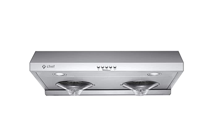 Chef Range Hood C100 30 Under Cabinet Kitchen Extractor Stainless Steel Electric Stove Ventilator 3 Speed 700 Cfm Exhaust Fan With Bright Led