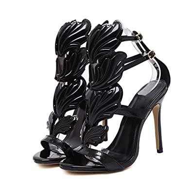 e8e86888147 Letters-from-Iceland sandals Summer Women High Heels Gold Winged Leaves Cut- Outs