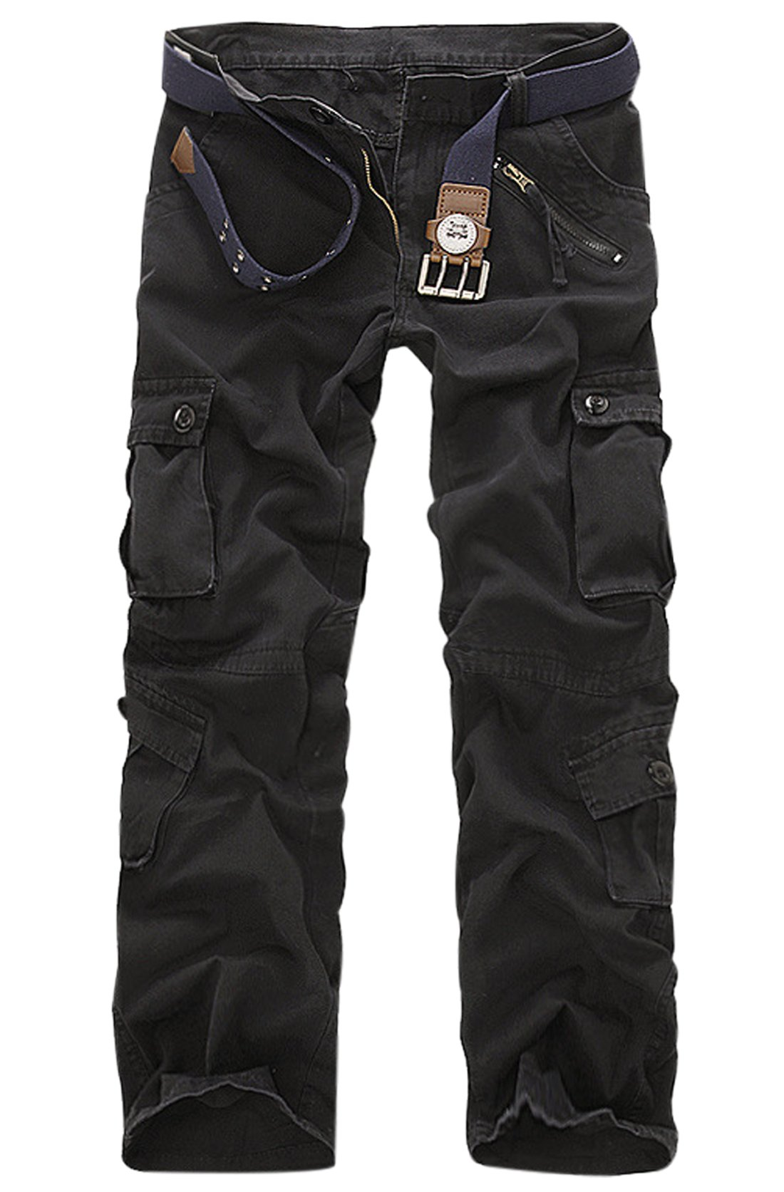 Gihuo Men's Casual Cotton Tactical Military Cargo Pants (36, Black)