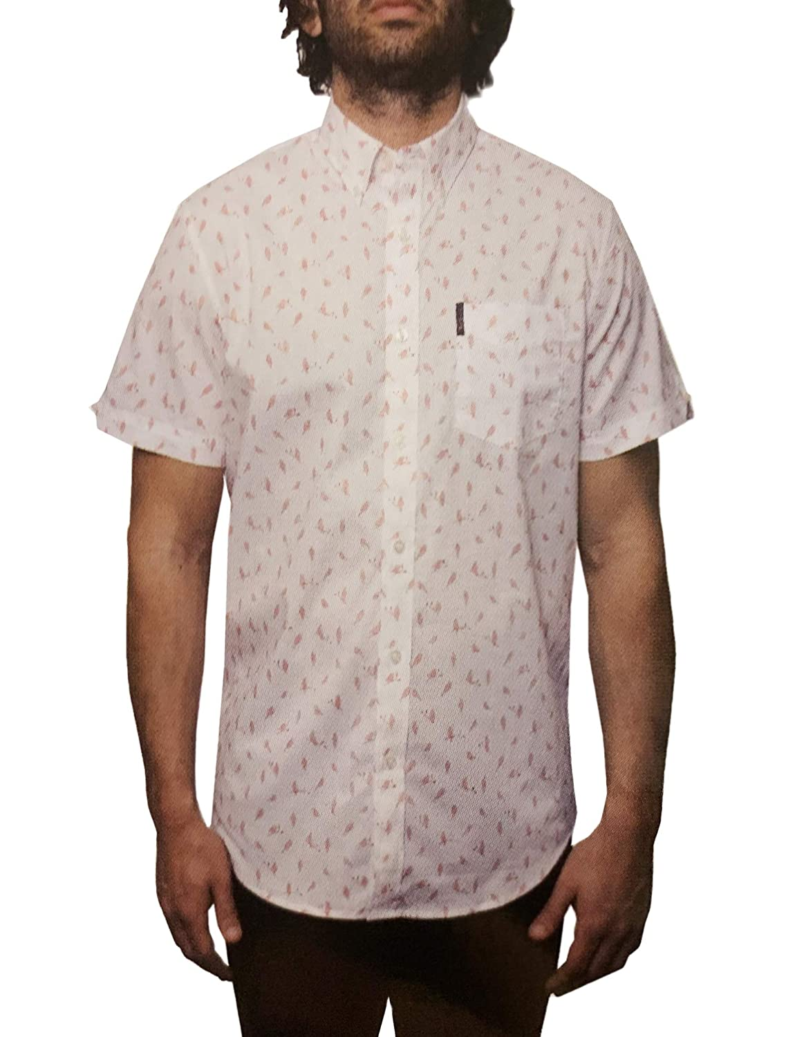 Ben Sherman Mens Short Sleeve Stretch Woven Button-Down Shirt