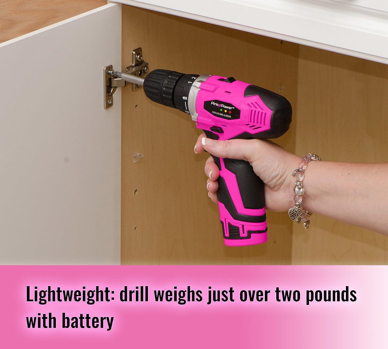 Pink Power PP121LI 12V Cordless Drill & Driver Tool Kit for Women