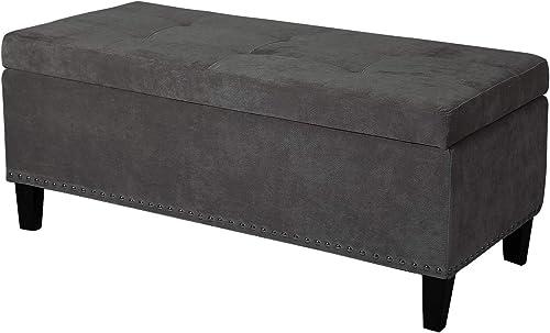 Joveco Storage Ottoman Microfiber Button Tufted Rectangular Bench