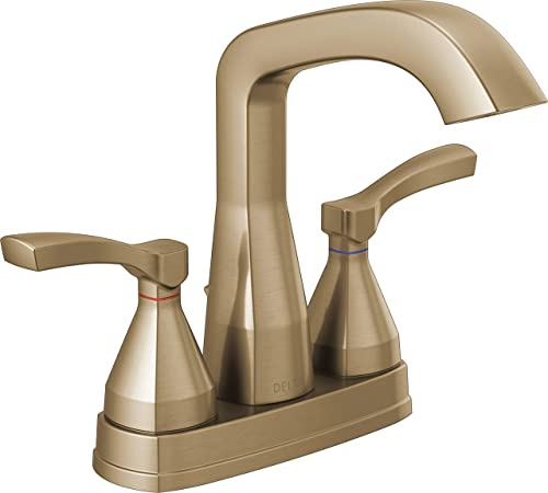 Delta Faucet Stryke Gold Bathroom Faucet, Centerset Bathroom Faucet, Diamond Seal Technology, Metal Drain Assembly, Champagne Bronze 25776-CZMPU-DST