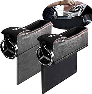 N / A Maodaner Universal Car Seat Gap Filler Premium PU Leather Side Pocket Organizer, Seat Crevice Storage Box with Cup Holder for Smartphone Coin Wallet Key, Car Interior Accessories 2PCS (Black)