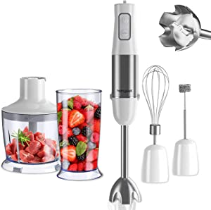 homgeek Immersion Hand Blender, 500W 6-Speed 5-in-1 Stainless Steel Stick Blender with BPA-Free Food Chopper, 600ml Beaker, Egg Beater, Milk Frother