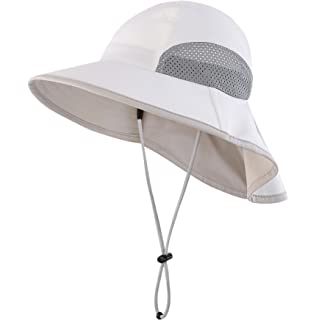 72da2cdb9a9 Connectyle Kids Wide Brim Neck Flap Sun Protection Hat Mesh Vent Bucket Sun  Hat
