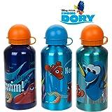 THREE DISNEY PIXAR FINDING DORY ALUMINIUM KIDS WATER JUICE SPORT DRINKS TRAVEL BOTTLE