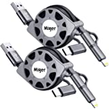 2-Pack Miger Retractable Multi 3.0A Fast Charging Cable, 3.3ft/1m 3 in 1 Lightning/Type C/Micro USB Charger Cord for iPhone,