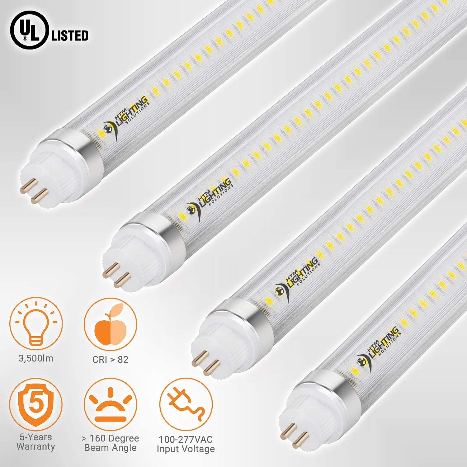 Clear Lens 3500 lm Cool White 5000K 24-Pack Dual-End Powered 54W T5 Equal 4ft 24W T5 High Output LED Tube Light 100-277V 45.25 LED Shop Light Ballast Bypass G5 Mini Base UL-Listed