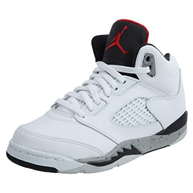 Jordan Retro 5 quot  Cement White University Red-Black (Little Kid) ( acc62cb52