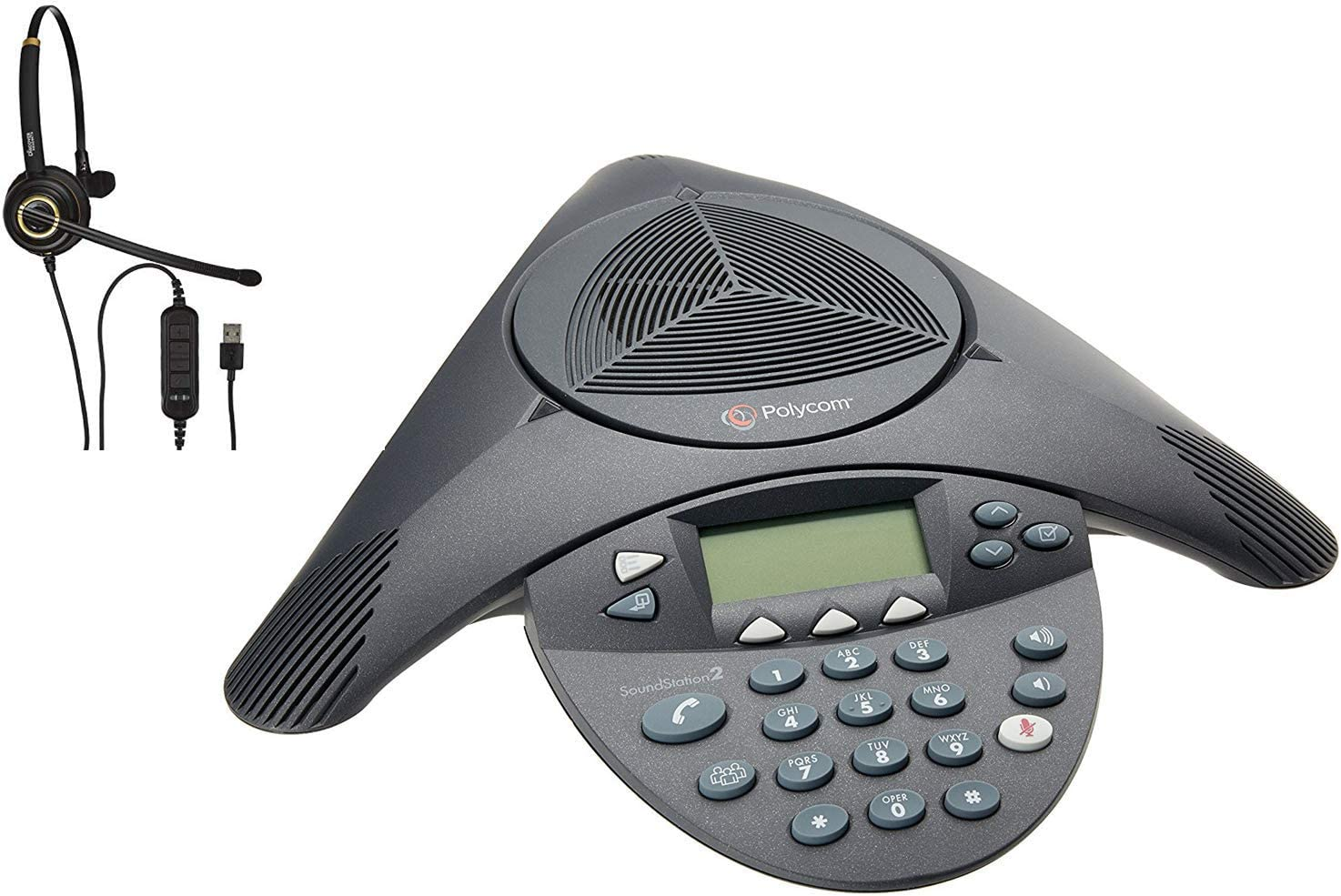 Certified Refurbished Polycom SoundStation 2 Expandable Conference Phone Bundle with Extension Microphones and Headset Discover D711U Headset