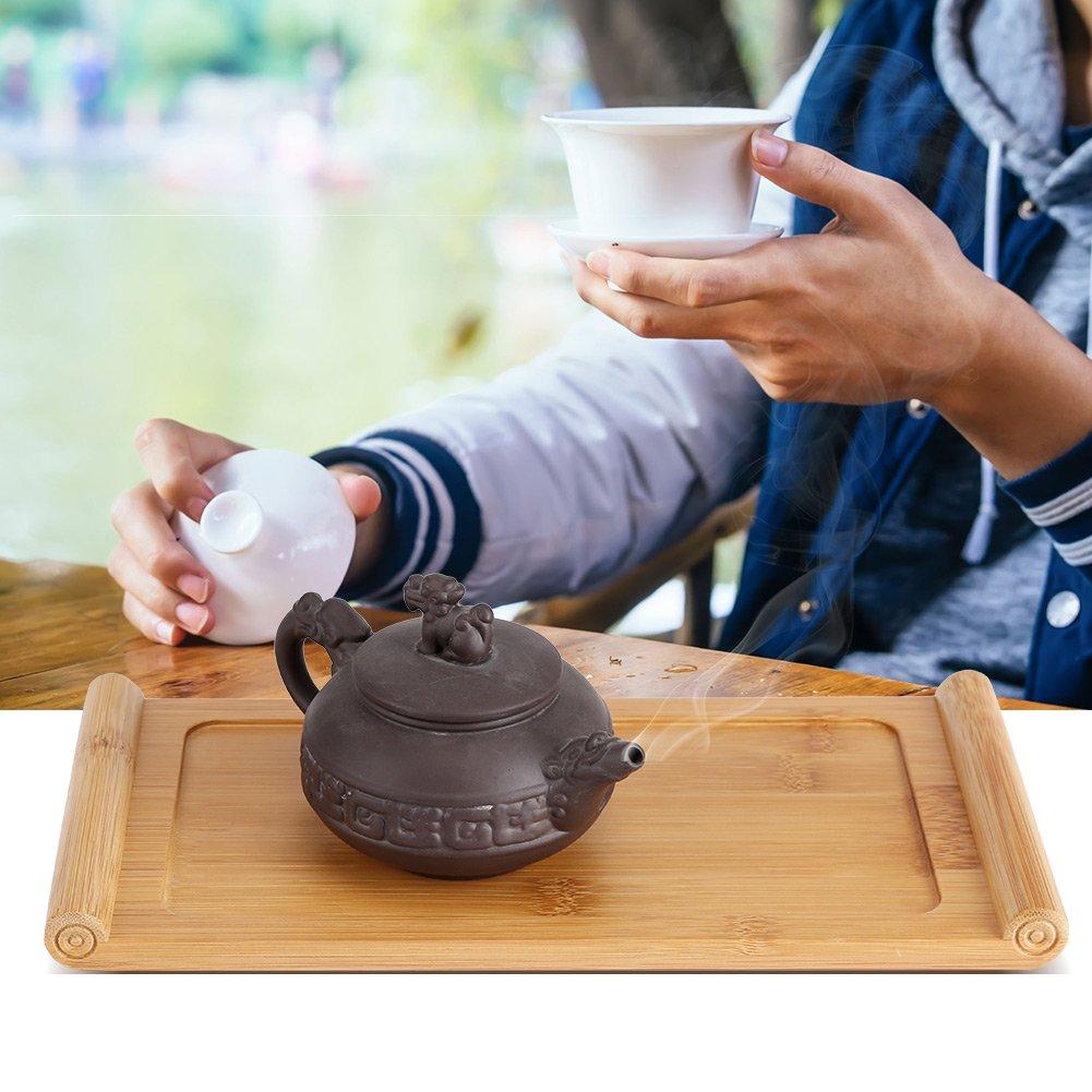Fdit Bambus Tee Tablett Chinesische Tee Tablett Kungfu Tragbare Reise Tee Set Gr/üner Oolong Teekanne Trivets Cup Teller Essen Dessert Serviertablett