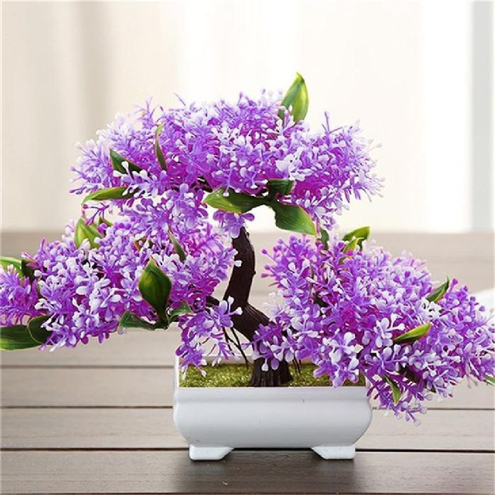5 Color Artificial Bonsai Tree Welcoming Fake Flower Green Plant Pine Trees Flower Potted Vase Wedding Home Decoration