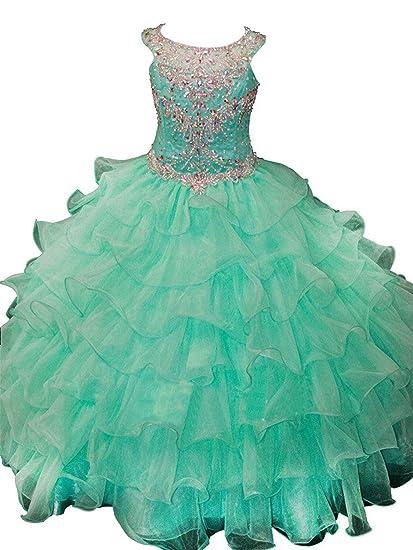 dac879b89 Amazon.com  Girls Crystal Ball Gown Long Pageant Dresses Ruffles ...