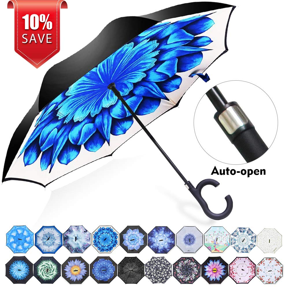 ZOMAKE Auto Open Inverted Umbrella Double Layer Reverse Umbrella, UV Protection Windproof Straight Umbrella Inside Out Umbrella for Car Rain Outdoor with C-Shaped Handle