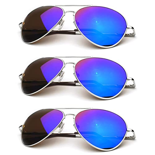 zeroUV - Premium Full Mirrored Aviator Sunglasses w Flash Mirror Lens  (3-Pack e969f59c35