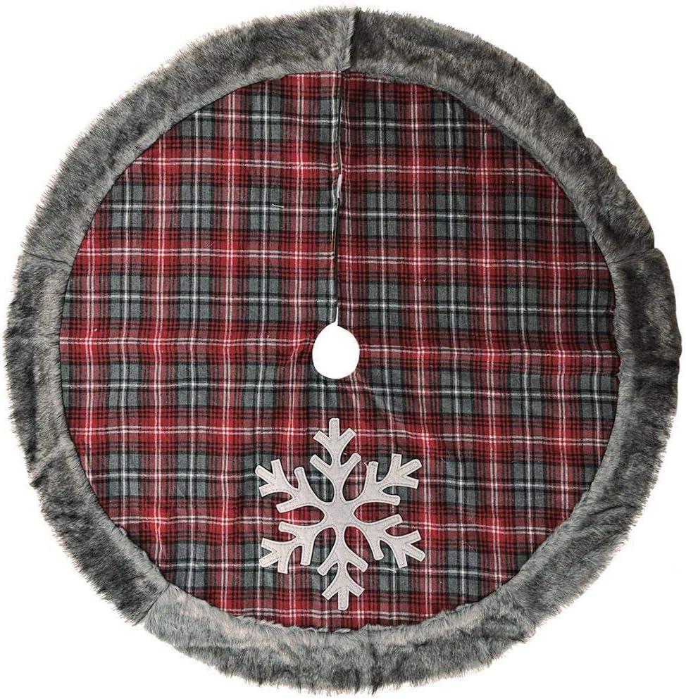 TwoCC Falda de Árbol de Navidad A Cuadros Rojos con Forro de Piel ...