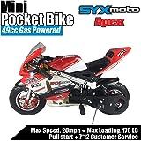 SYX MOTO Apex Pocket Bikes 2 Stroke 49CC Mini Dirt Bike Kids Gas Powered Pocket Rocket Motorcycle,Pull Start,Black,2021