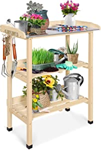 EAGLE PEAK Outdoor Wooden Potting Bench Garden Work Station Table with Tool Storage Shelf, Hooks, Waterproof Metal Tabletop for Garden, Backyard, Patio, Natural
