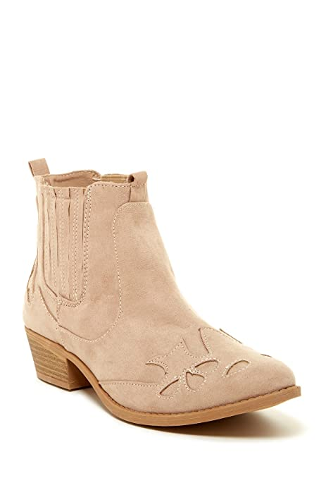 Qupid Women's Sochi Faux Suede Ankle Boot Heeled Shoe Bootie (10, Taupe)