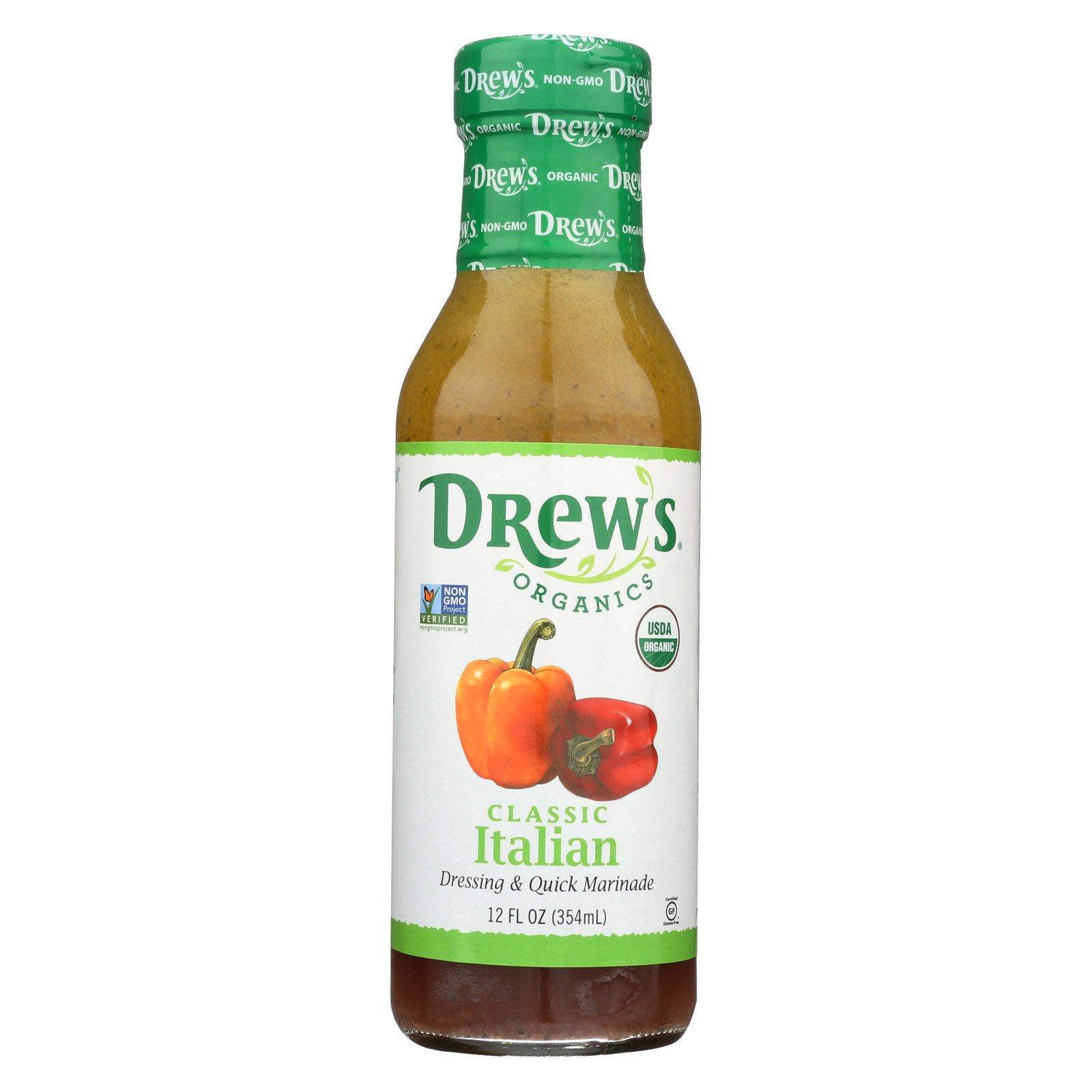Drew's Organics Organic Dressing and Quick Marinade - Classic Italian - 12 Fl. Oz. - Case of 6