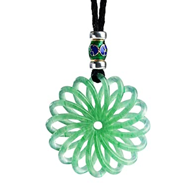 Amazon istone green jade pendant necklace 3d hand carved with istone green jade pendant necklace 3d hand carved with black adjustable rope chain aloadofball Gallery