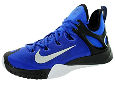 hot sale online ac791 cd7b5 Nike Mens Zoom Hyperrev 2015 Lyon Blue Mtllc Slvr Blk White Basketball Shoe