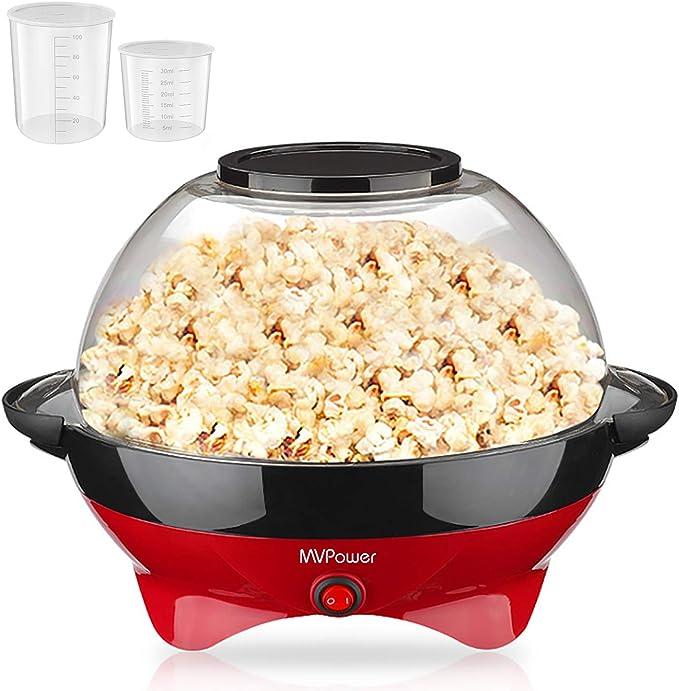 MVPower Popcorn Maker, 800W Popcorn Maker, Superficie de Calentamiento Extraíble Recubrimiento Antiadherente, Tapa Grande, con 2 Tazas de Medición (100 ml, 30 ml), sin BPA, 5 Litros: Amazon.es: Juguetes y juegos