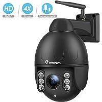 PTZ Dome Caméra extérieur sans Fil, Ctronics Caméra de Surveilance WiFi HD 1080p 360 ° avec 4X Zoom Optique, Audio bidirectionnel, Vision Nocturne de 50 m, Protection IP65 (Carte SD Non fournie)